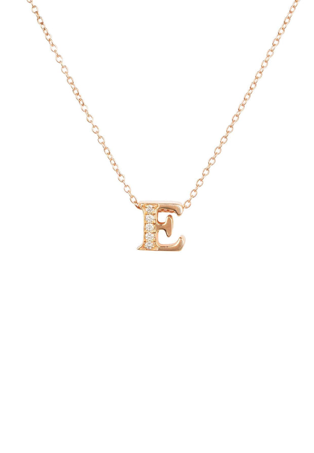 Diamond Initial Letter Pendant Necklace Rose Gold E - LATELITA