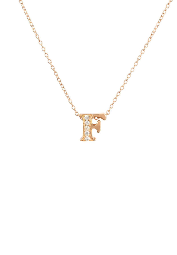 Diamond Initial Letter Pendant Necklace Rose Gold F - LATELITA
