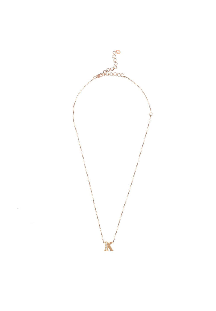 Diamond Initial Letter Pendant Necklace Rose Gold K - LATELITA