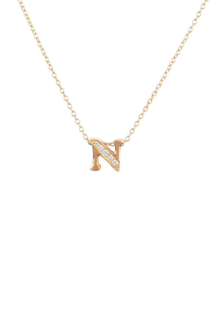 Diamond Initial Letter Pendant Necklace Rose Gold N - LATELITA