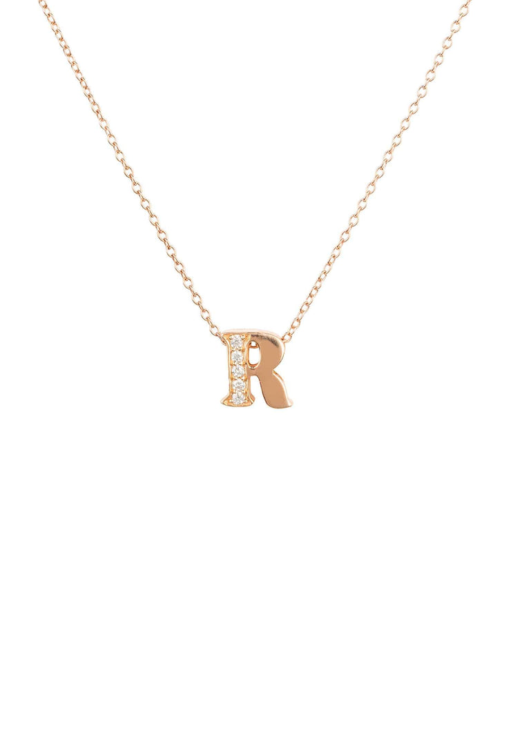 Diamond Initial Letter Pendant Necklace Rose Gold R - LATELITA
