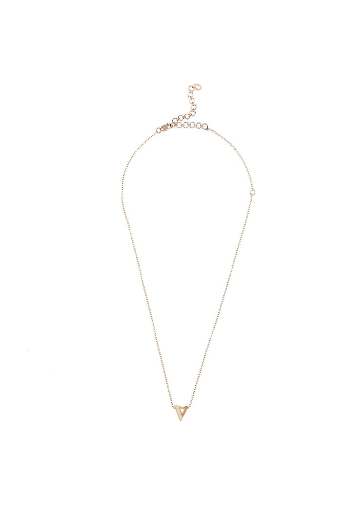 Diamond Initial Letter Pendant Necklace Rose Gold V - LATELITA