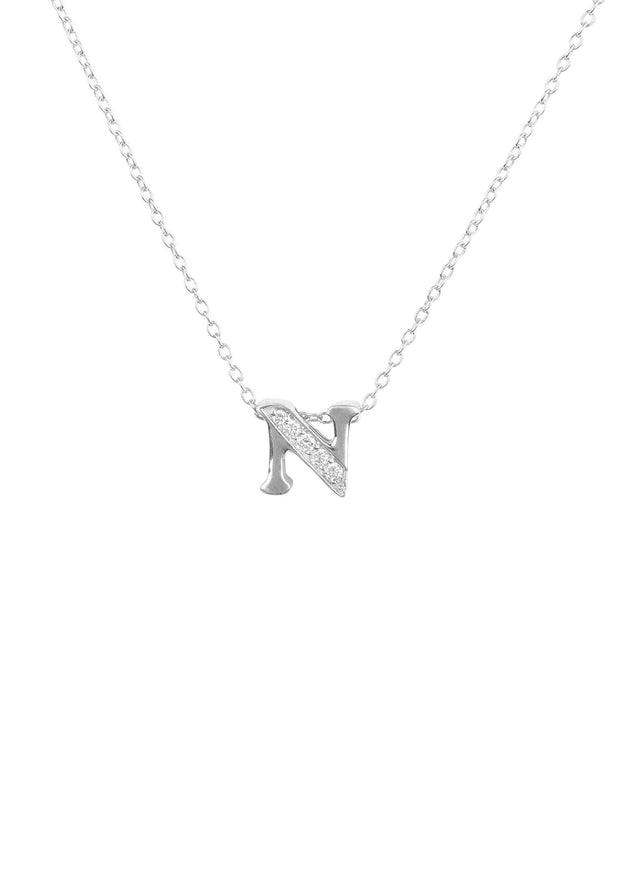 Diamond Initial Letter Pendant Necklace Silver N - LATELITA
