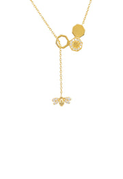 Diamond Honey Bee Comb Pendant Necklace gold - LATELITA