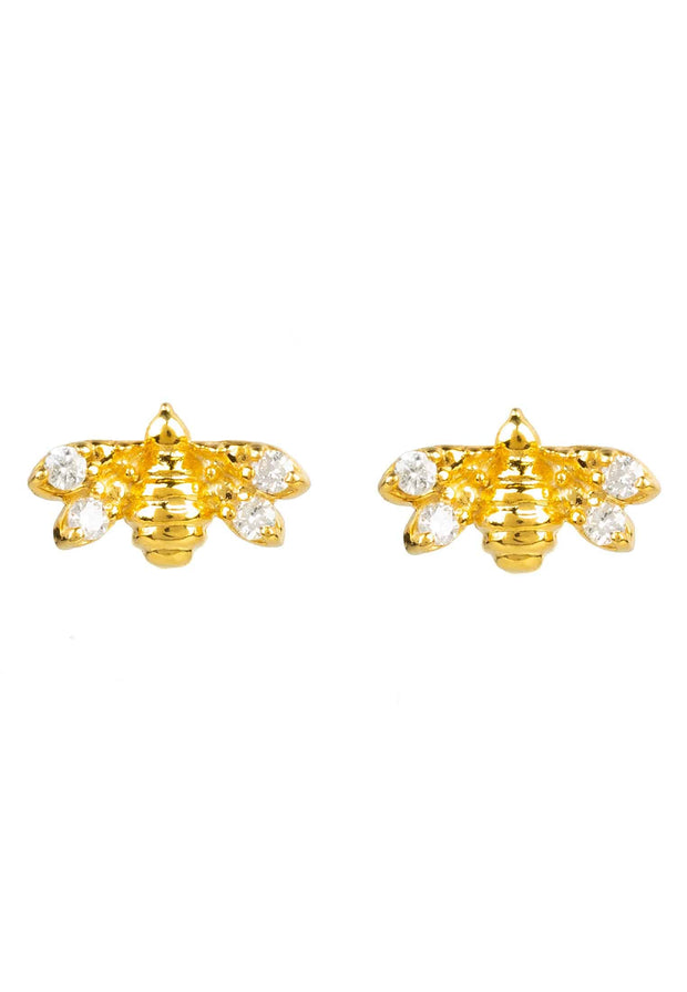 Diamond Mini Bee Stud Earrings gold - LATELITA