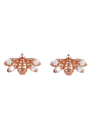 Diamond Mini Bee Stud Earrings rosegold - LATELITA