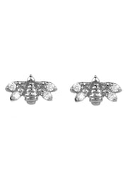 Diamond Mini Bee Stud Earrings silver - LATELITA