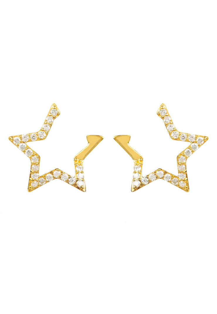 Diamond Open Star Earrings gold - LATELITA