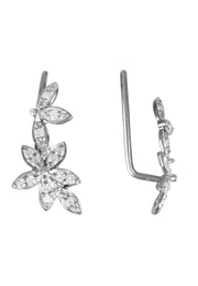 Diamond Flowers Ear Climber Silver - LATELITA