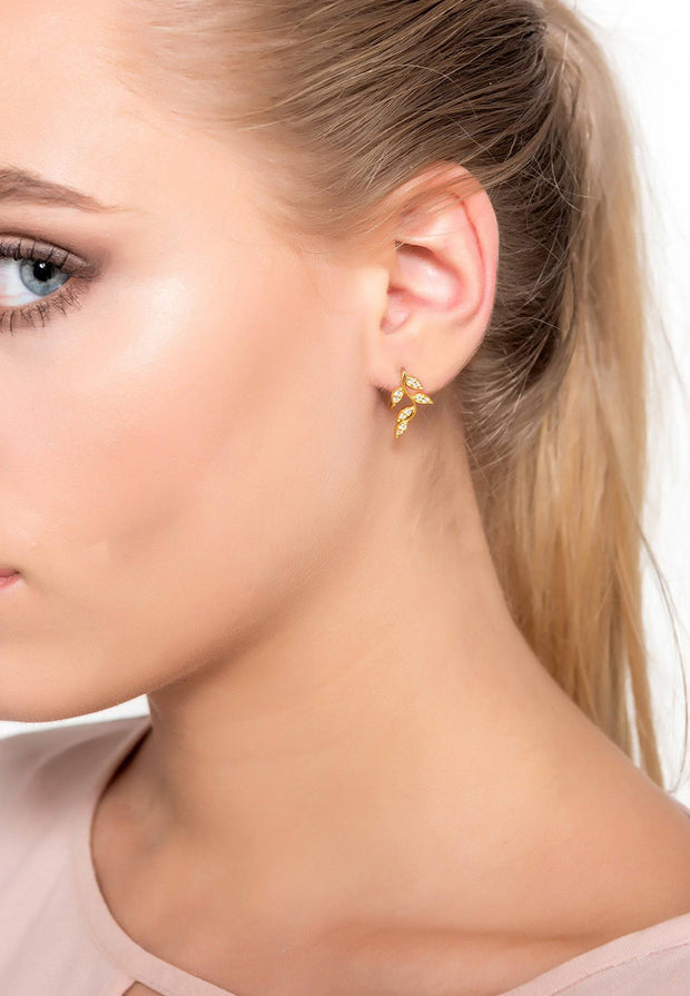 Diamond Leaf Ear Climber Rosegold - LATELITA