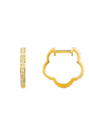 Diamond Flower Clover Huggie Hoop Earring gold - LATELITA