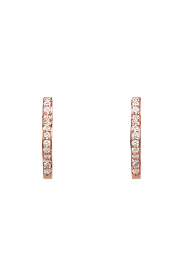 Diamond Flower Clover Huggie Hoop Earring rosegold - LATELITA