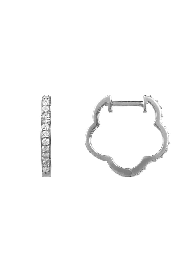 Diamond Flower Clover Huggie Hoop Earring silver - LATELITA