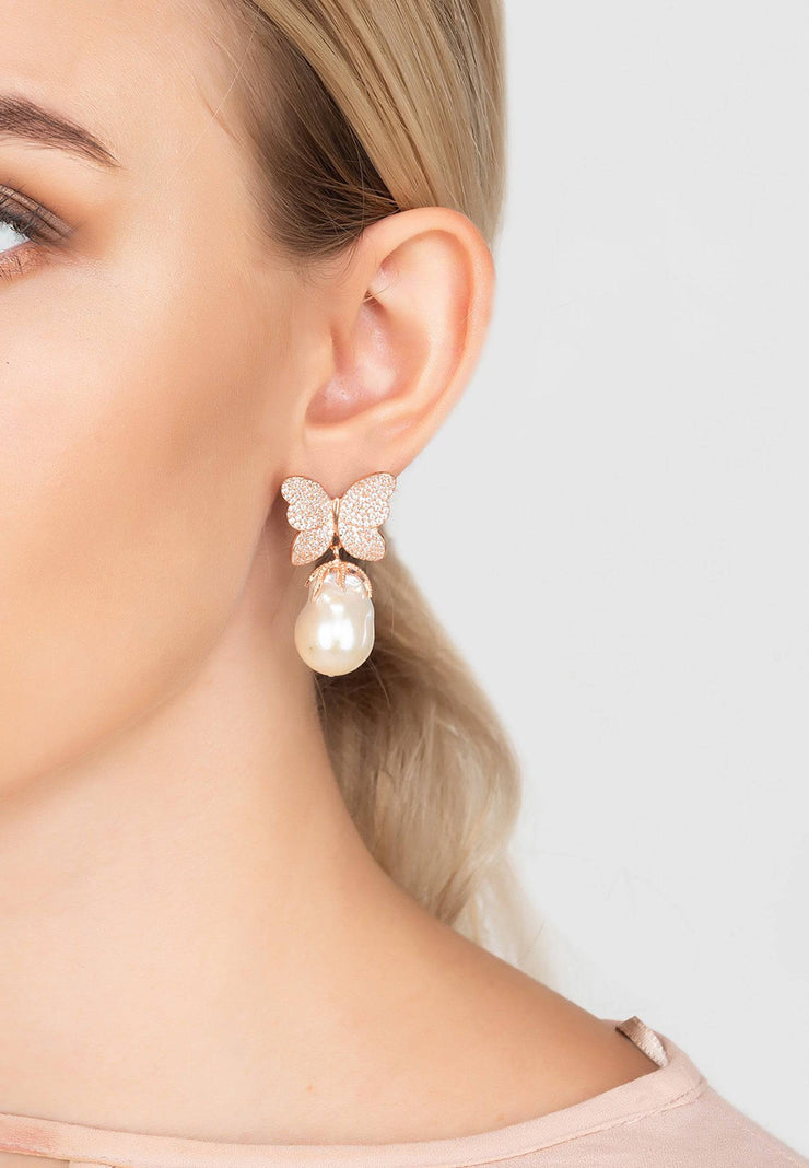 Baroque Pearl White Butterfly Earring rosegold - LATELITA