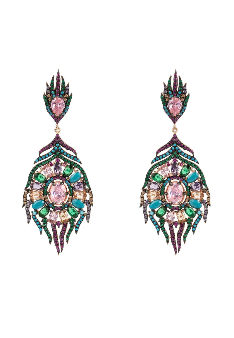 Peacock Colourful Feather Gemstone Earring Rose Gold - LATELITA