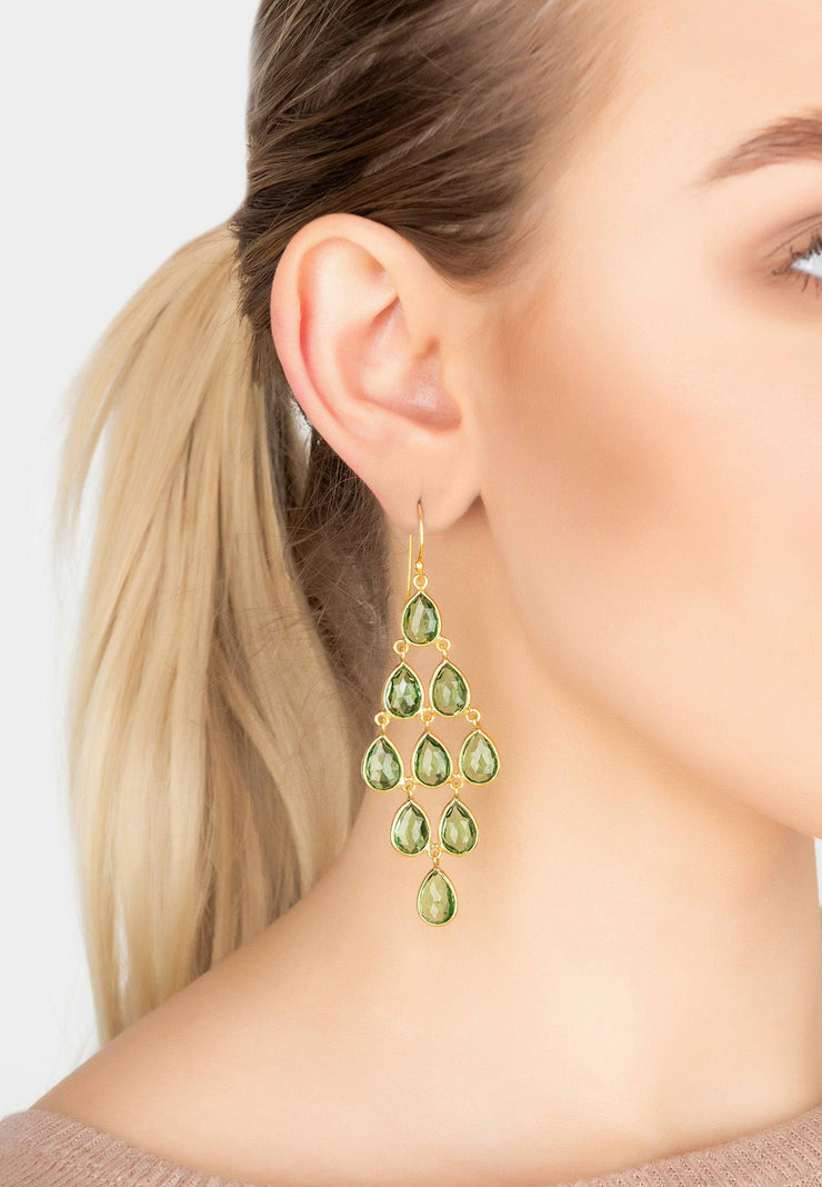 Erviola Gemstone Cascade Earrings Gold Peridot - LATELITA