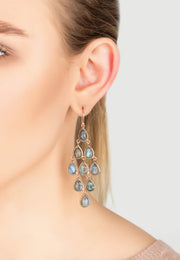 Erviola Gemstone Cascade Earring Rose Gold Labradorite - LATELITA