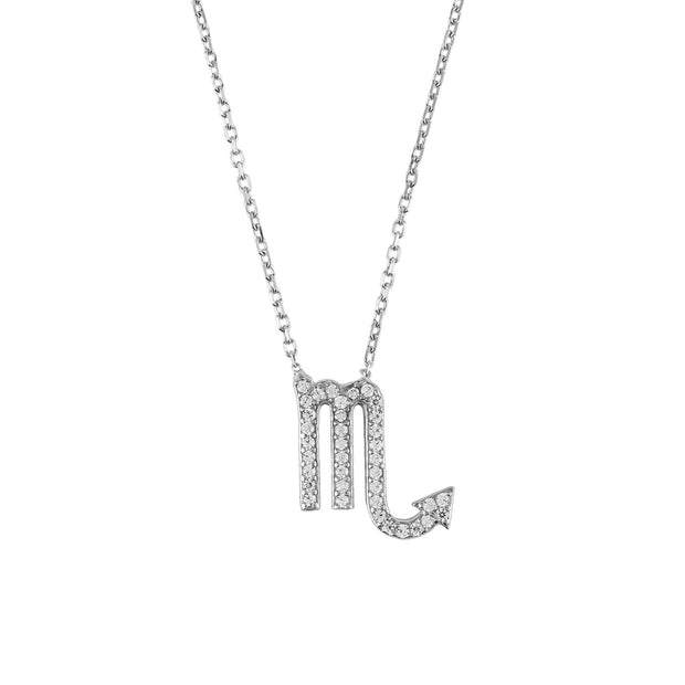 Zodiac Star Sign Pendant Necklace Silver Scorpio - LATELITA