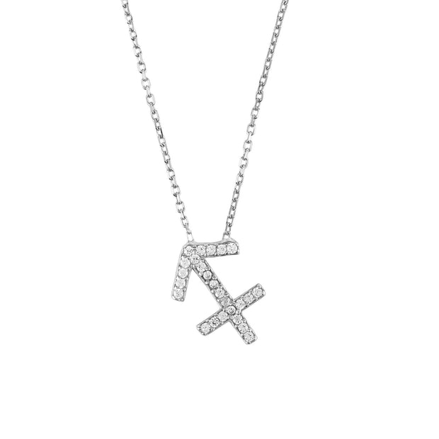 Zodiac Star Sign Pendant Necklace Silver Sagittarius - LATELITA