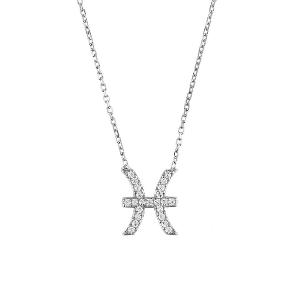 Zodiac Star Sign Pendant Necklace Silver Pisces