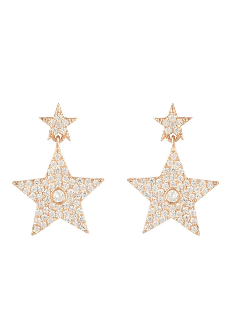 Star Double Drop Earring Rosegold - LATELITA