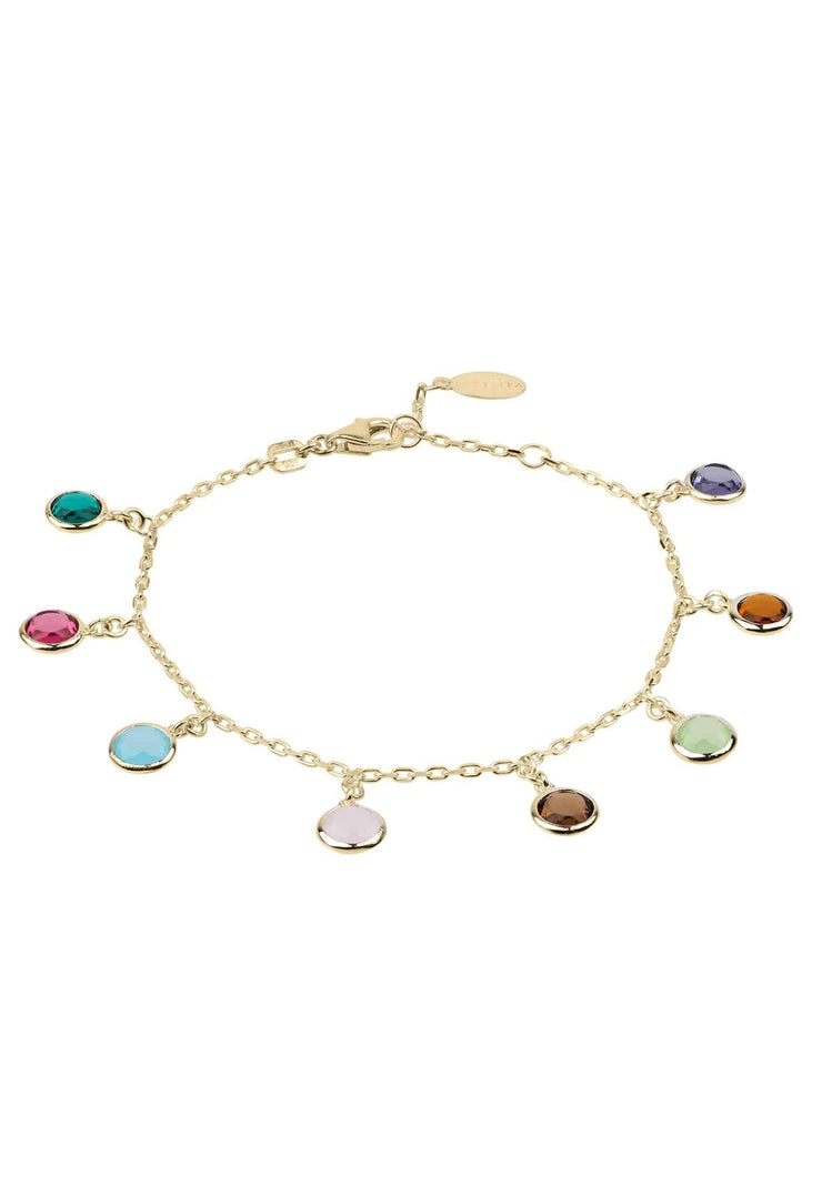 Florence Multi Coloured Gemstone Bracelet Gold - LATELITA