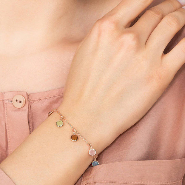 Florence Multi Coloured Gemstone Bracelet Rose Gold - LATELITA