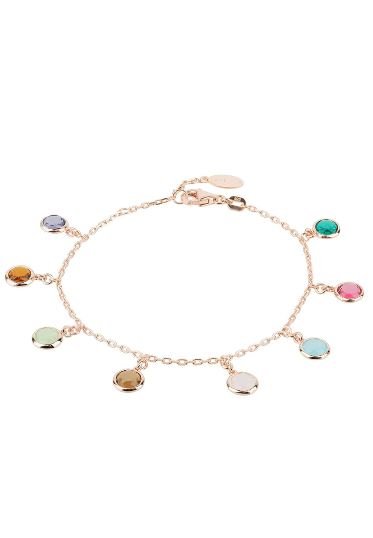 Florence Multi Coloured Gemstone Bracelet Rosegold - LATELITA