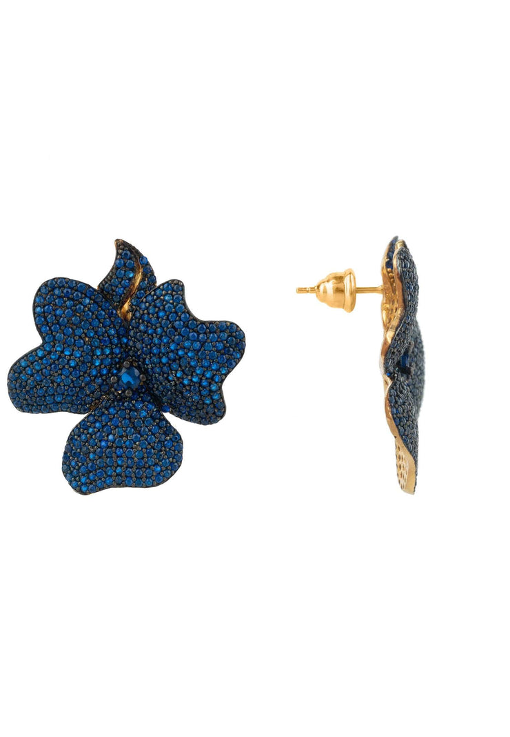 Flower Large Stud Earrings Gold Sapphire Blue - LATELITA