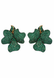 Flower Large Stud Earrings Gold Emerald Green - LATELITA