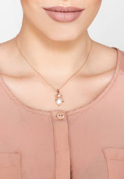 Pearl Gemstone Bee Pendant Necklace Rose Gold - LATELITA