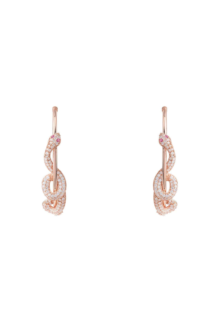 Cleopatra Serpent Snake Hoop Earrings Rose Gold - LATELITA