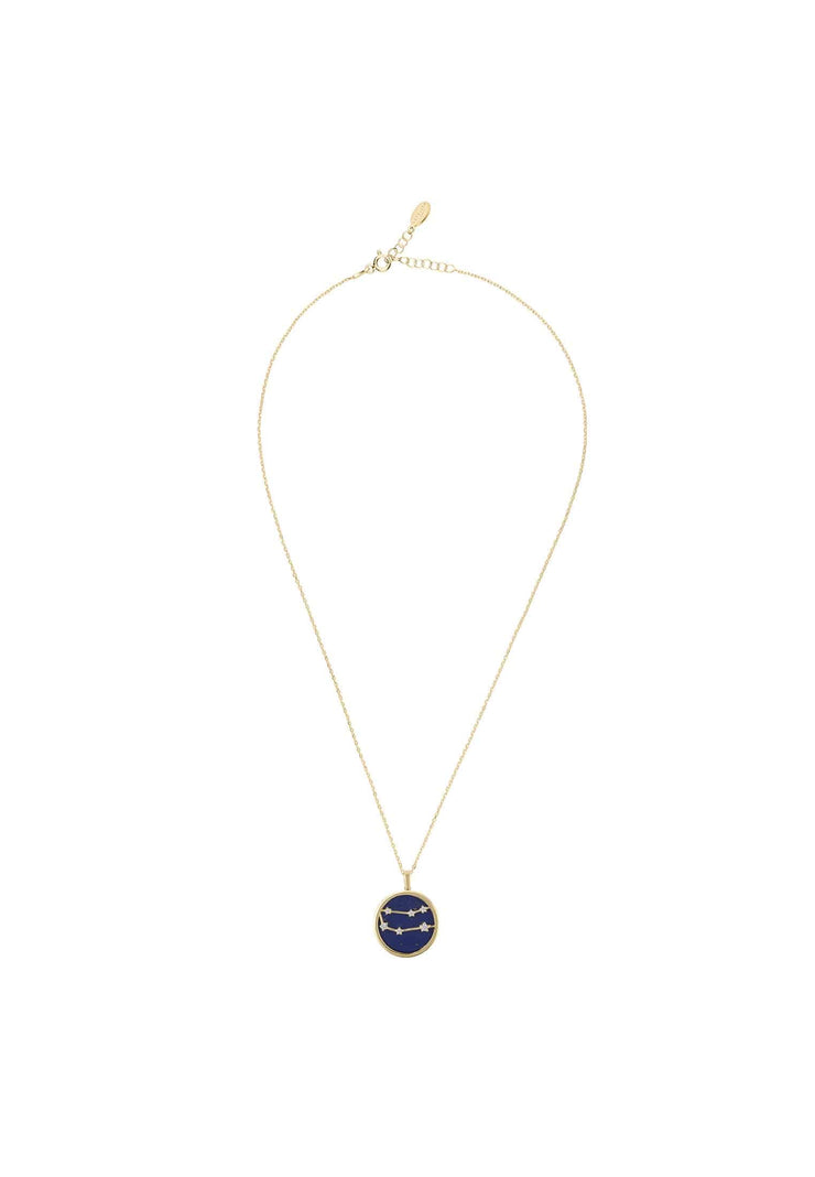Zodiac Lapis Lazuli Gemstone Star Constellation Pendant Necklace Gold Gemini - LATELITA