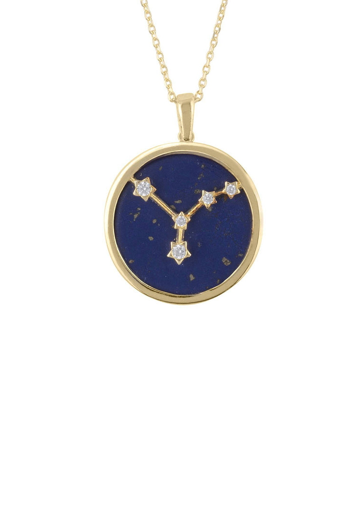 Zodiac Lapis Lazuli Gemstone Star Constellation Pendant Necklace Gold Cancer - LATELITA