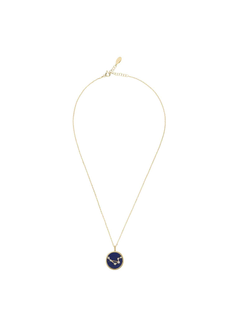 Zodiac Lapis Lazuli Gemstone Star Constellation Pendant Necklace Gold Libra - LATELITA