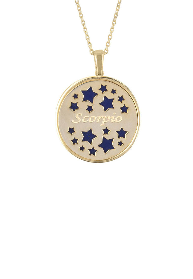 Zodiac Lapis Lazuli Gemstone Star Constellation Pendant Necklace Gold Scorpio - LATELITA
