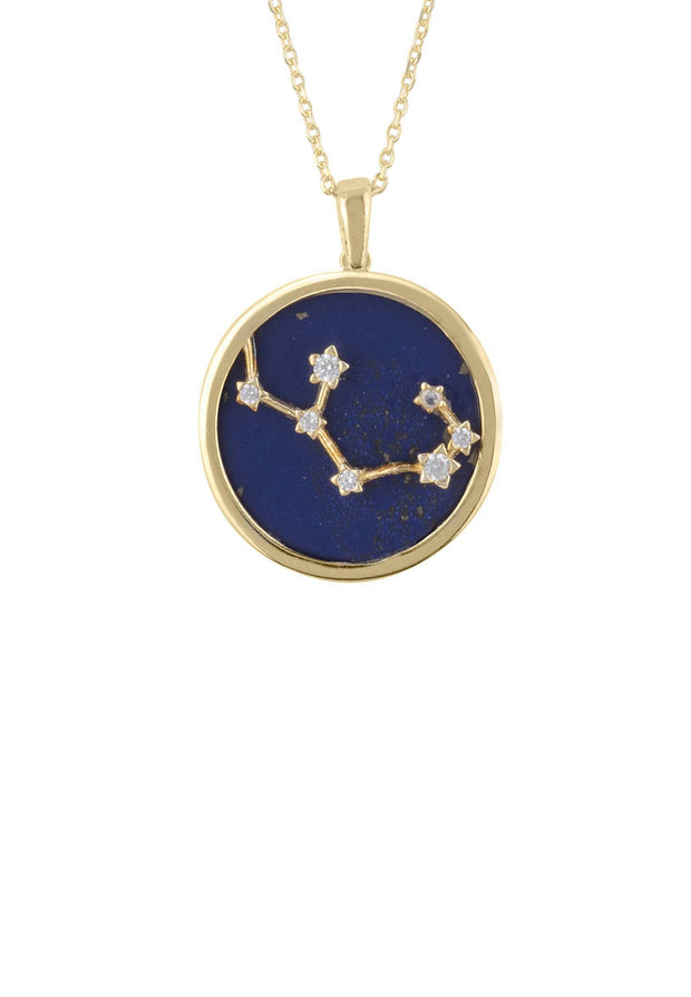 Zodiac Lapis Lazuli Gemstone Star Constellation Pendant Necklace Gold Sagittarius - LATELITA