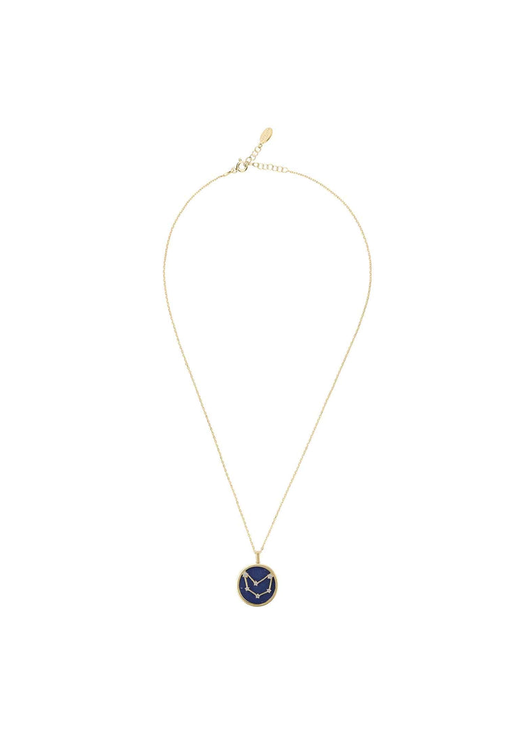 Zodiac Lapis Lazuli Gemstone Star Constellation Pendant Necklace Gold Capricorn - LATELITA