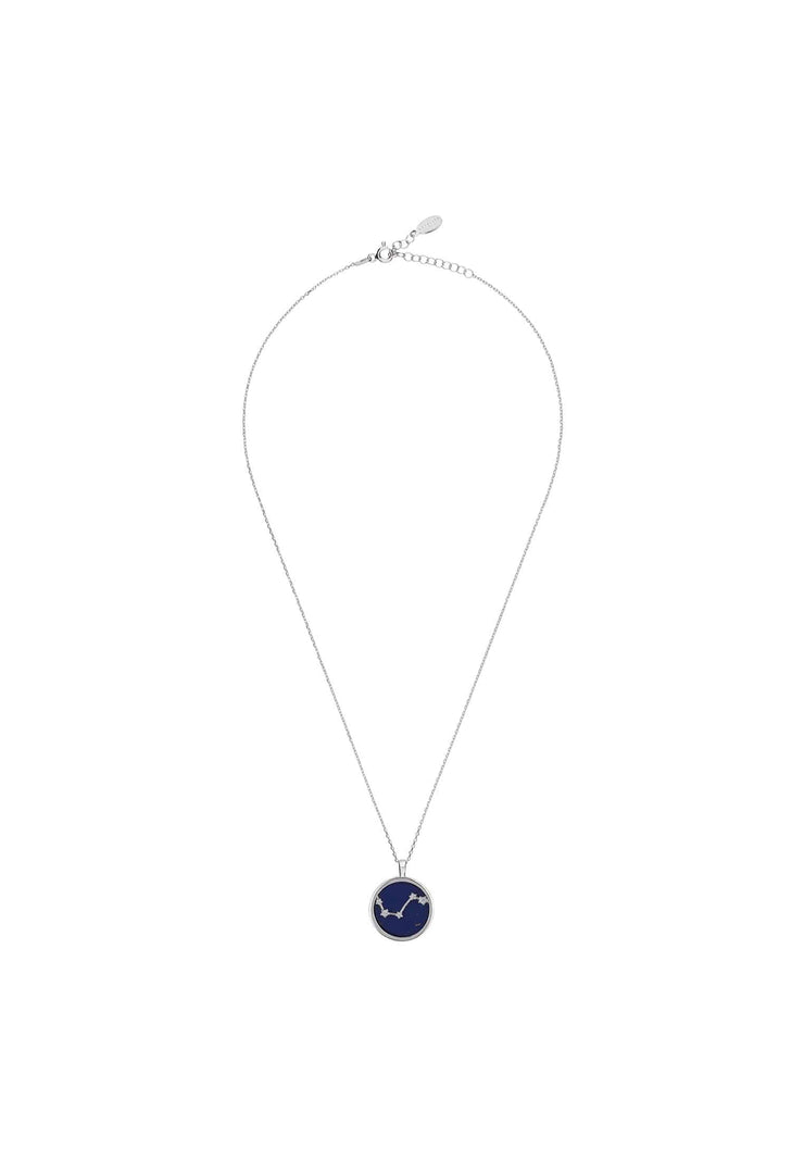 Zodiac Lapis Lazuli Gemstone Star Constellation Pendant Necklace Silver Aries - LATELITA