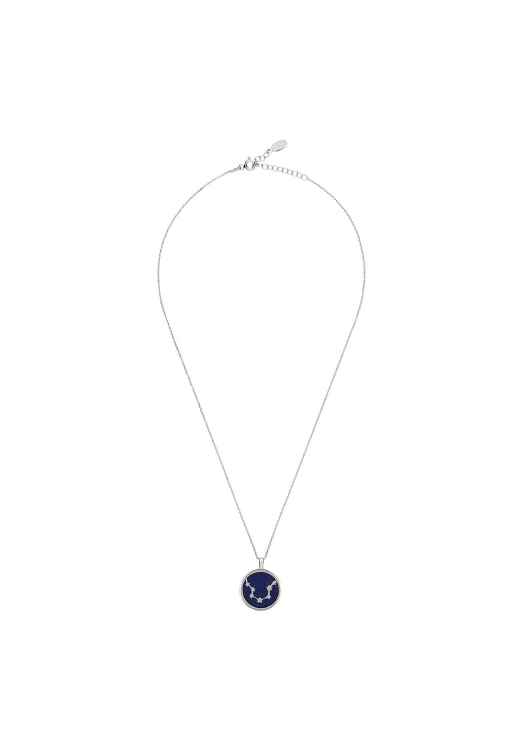 Zodiac Lapis Lazuli Gemstone Star Constellation Pendant Necklace Silver Aquarius - LATELITA