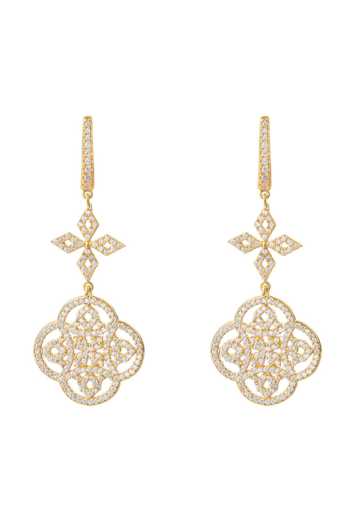 Celtic Knot Clover Drop Earrings gold - LATELITA