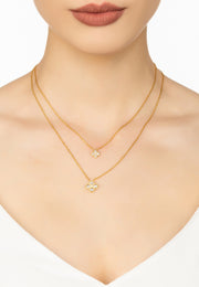 Flower Clover Double Layered Pendant Necklace gold - LATELITA