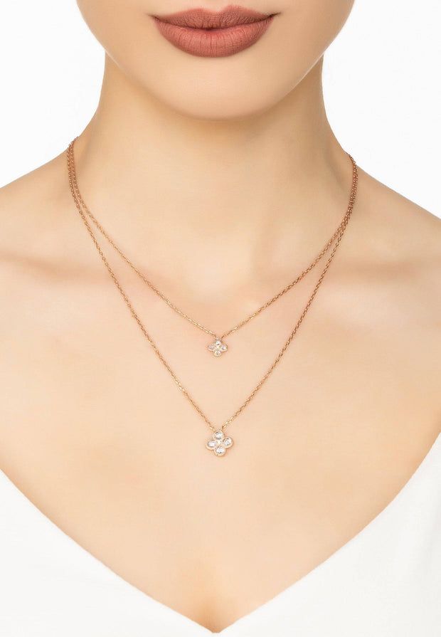 Flower Clover Double Layered Pendant Necklace rosegold - LATELITA