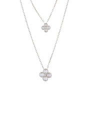 Flower Clover Double Layered Pendant Necklace silver - LATELITA