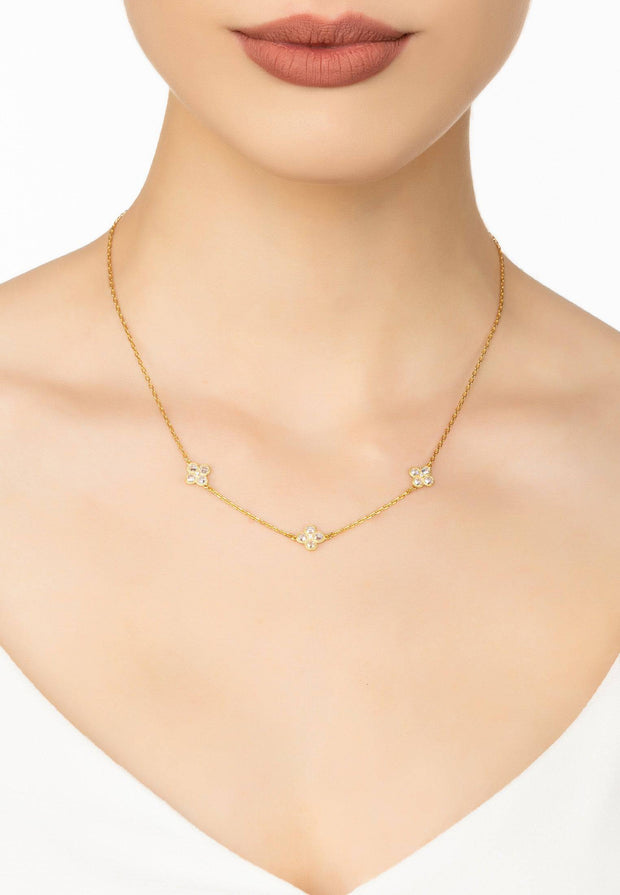 Flower Clover Triple Choker Necklace gold - LATELITA