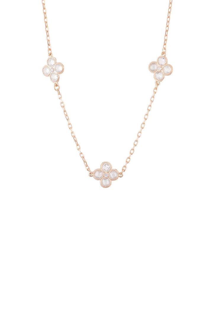 Flower Clover Triple Choker Necklace rosegold - LATELITA