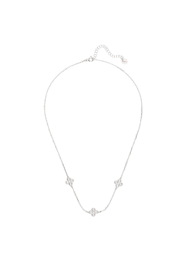 Flower Clover Triple Choker Necklace silver - LATELITA
