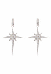 North Star Burst Large Drop Earring silver - LATELITA