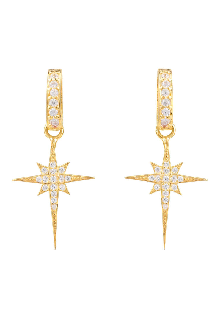 North Star Burst Small Drop Earring gold - LATELITA