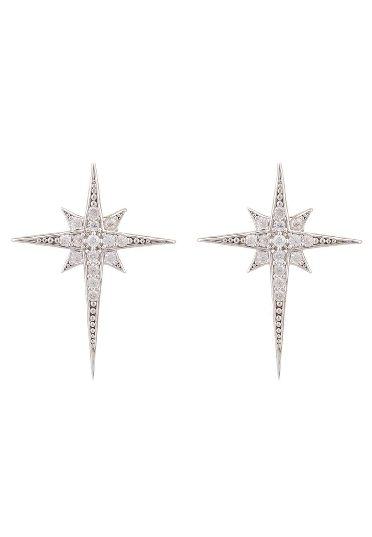 North Star Small Stud Earring Silver - LATELITA